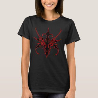 Carnival Mask Tribal Tattoo black and red on black T-Shirt