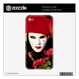 Carnival Mask with Red Roses Venice Skins For The iPhone 4