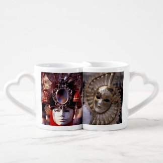 Carnival Masks Couples' Coffee Mug Set