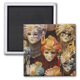 Carnival Masks in Venice 2 Inch Square Magnet
