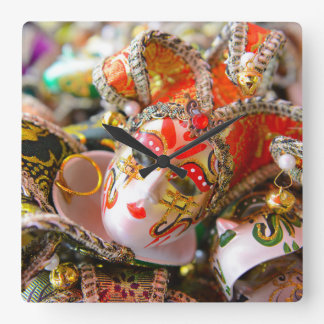 Carnival Masks in Venice Italy Square Wall Clock