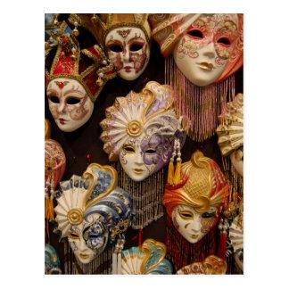 Carnival Masks in Venice Postcard