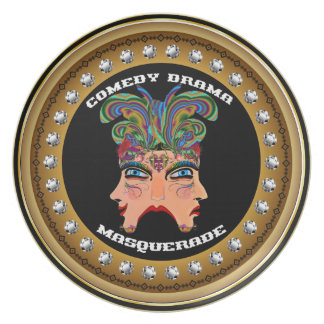 Carnival Masquerade Comedy Drama View Hints Plse Dinner Plate