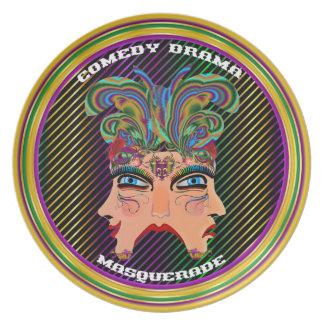 Carnival Masquerade Comedy Drama View Hints Plse Melamine Plate