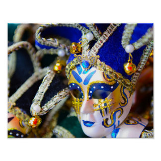 Carnival Masquerade Masks in Venice Italy Poster
