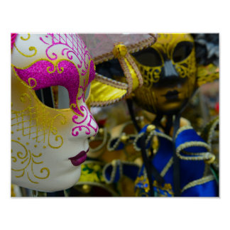 Carnival Masquerade Masks in Venice Italy Poster