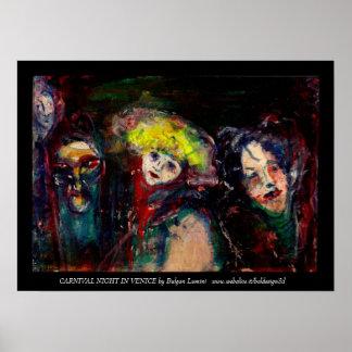 CARNIVAL NIGHT IN VENICE Venetian Masquerade Masks Poster