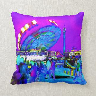Carnival Night Neon Lights Amusement Park Photo Throw Pillow