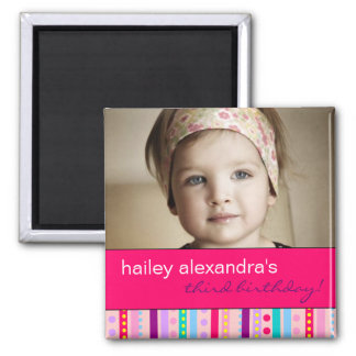 Carnival of Stripes Birthday Photo Magnet