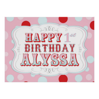 Carnival or Circus Birthday Banner for Alyssa Poster