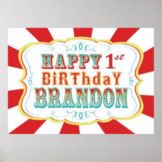 Carnival or Circus Birthday Banner for Brandon Poster