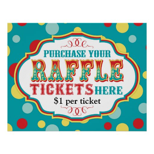Carnival Or Circus Raffle Ticket Booth Sign Poster Zazzle