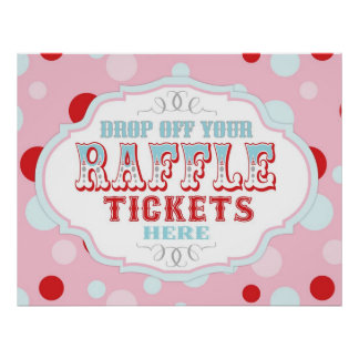 Carnival or Circus Raffle Ticket Booth Sign Posters