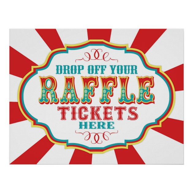 Carnival or Circus Raffle Ticket Sign Poster | Zazzle