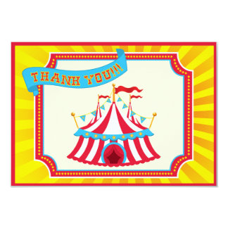 Carnival or Circus Tent Thank You Cards. Personalized Announcements