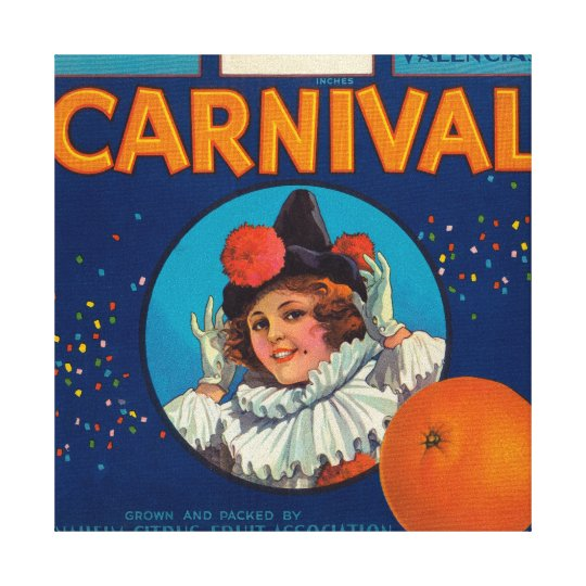 Carnival Orange LabelAnaheim, CA Canvas Print