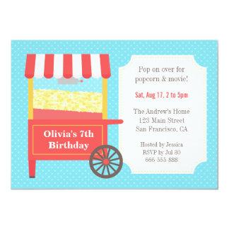 Carnival Popcorn Kids Birthday Party Invitations