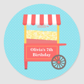 Carnival Popcorn Kids Birthday Party Stickers