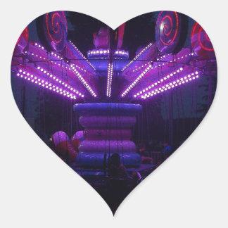 Carnival Ride at Night Heart Sticker