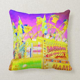 Carnival Rides Yellow Sausages Pop Art Photo Throw Pillows