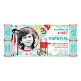Carnival Stilt Walker Cotton Candy Birthday Invitation