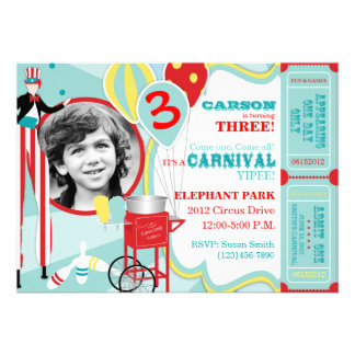 Carnival Stilt Walker Cotton Candy Birthday Personalized Invites