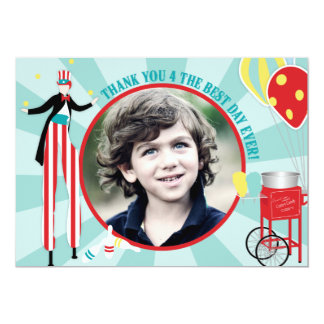 Carnival Stilt Walker & Cotton Candy Thank You 1 Personalized Invite