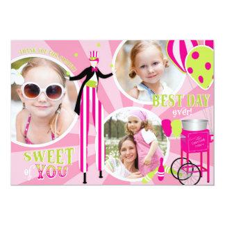 Carnival Stilt Walker & Cotton Candy Thank You 3 Card