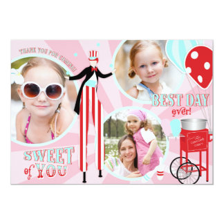 Carnival Stilt Walker & Cotton Candy Thank You 3 Personalized Invite