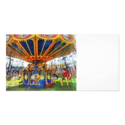 Carnival - Super Swing Ride Photo Greeting Card