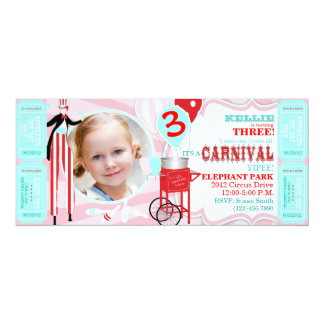 Carnival Tall Pink Invitation
