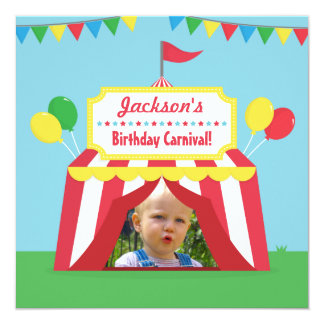 Carnival Themed Kids Birthday Party Photo Card