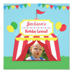 Carnival Themed Kids Birthday Party Photo 5.25x5.25 Square Paper Invitation Card