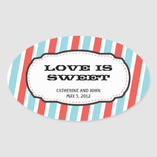 Carnival Themed Wedding Oval Sticker