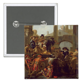 Carnival Time in Rome, 1653 (oil on canvas) 2 Inch Square Button
