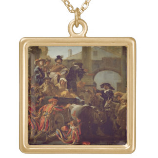 Carnival Time in Rome, 1653 (oil on canvas) Square Pendant Necklace