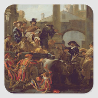 Carnival Time in Rome, 1653 (oil on canvas) Square Sticker