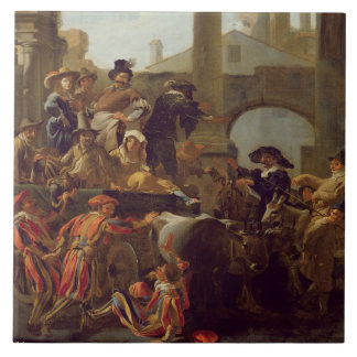 Carnival Time in Rome, 1653 (oil on canvas) Large Square Tile