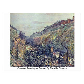 Carnival Tuesday At Sunset By Camille Pissarro Postcard