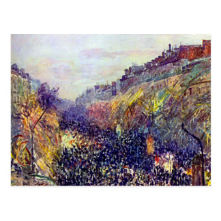 Carnival Tuesday on Boulevard Montmartre at Sunset Postcard