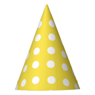 Carnival Yellow Back Large White Dots Party Hat