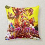 Carnival Zipper Ride Food Row Pop Art Photo Pillows