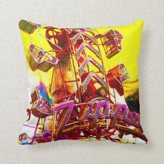 Carnival Zipper Ride Yellow Pop Art Photo Pillow