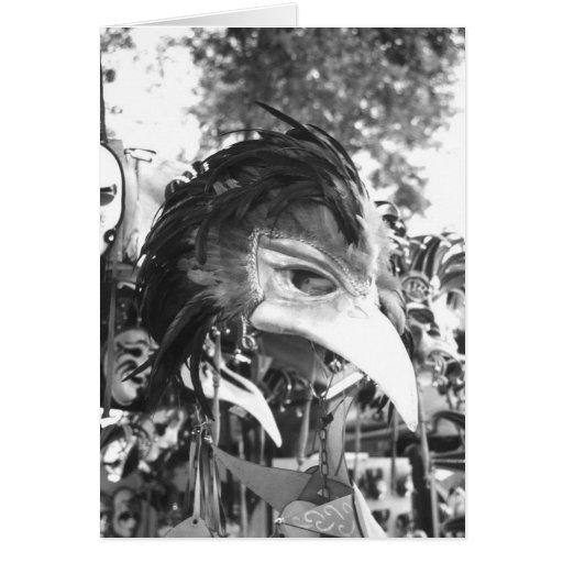 Carnivale Mask Venice Italy Souvenir Stand Card