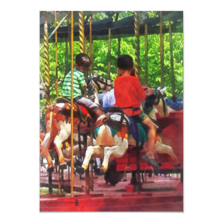 Carnivals - Friends on the Merry-Go-Round 5x7 Paper Invitation Card
