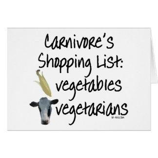 Carnivore Shopping List Card