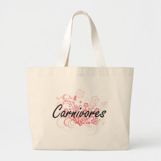 Carnivores with flowers background jumbo tote bag