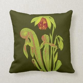 Carnivorous Cobra Plant Floral Throw Pillow