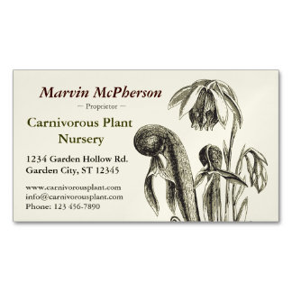 Carnivorous Plant Nursery Magnetic Business Cards (Pack Of 25)