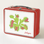 """Carnivorous Venus Flytrap Custom Name Metal Lunch Box<br><div class=""""desc"""">A large colorful Venus Flytrap on a fun personalized lunch box. Enter your name in our easy to use template. This attractive design is on many other fun items in my BotanicalArt Shop.</div>"""